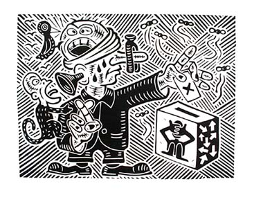 Richard Mock Linocut Print Voting 502755