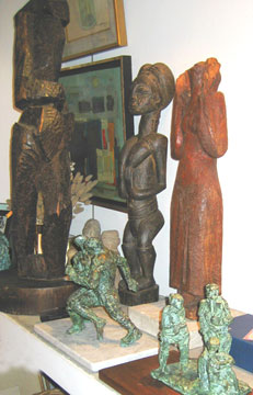Aurelio Macchi wood and bronze sculptures