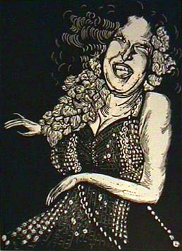 Babette Katz linocut print  of Bette Midler