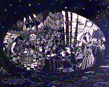 Babette Katz linocut print dream detail