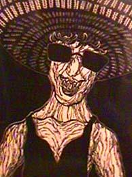 Babette Katz linocut Sunhat detail