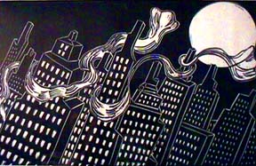 Babette Katz linocut print Scarf City