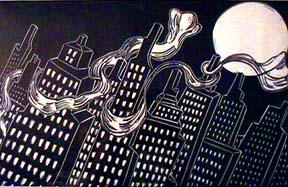 Babette Katz linocut print Scarf City