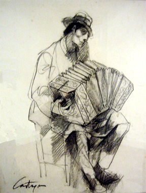 Castagnino Drawing of Bandoneon Player