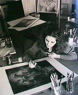 Catalina Chervin drawing in her studio