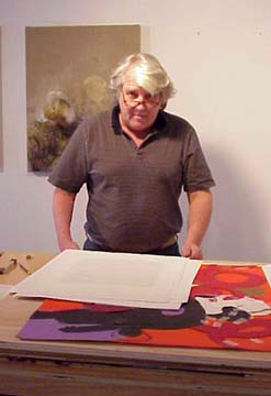 Hewitt artist in his studio