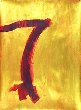 Diane Churchill  painting on paper red/gold3