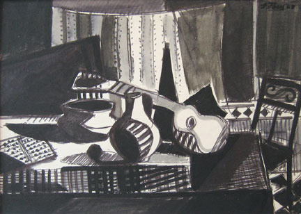 Eolo Pons still life with guitar