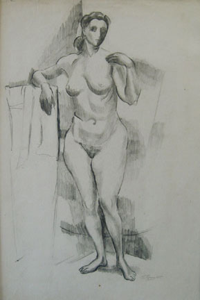 Eolo Pons pencil drawing Standing Nude