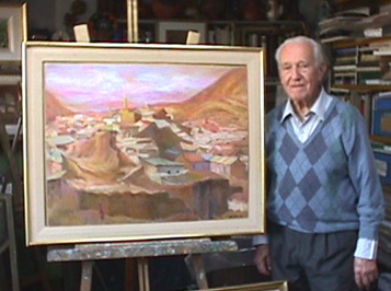 Eolo Pons with painting Potosi
