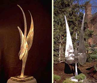 Wind Bird and kinetic Wind Bird II sculpture