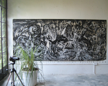 Guillermo Cuello and Paul Trajman painting Aquelarre Posmoderno