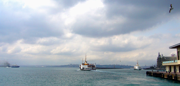 Ship and Ferry traffic on the Bosphorus Straits