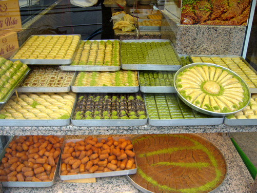 Pastry shop window in Istanbul