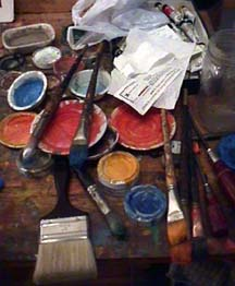 James Burnett Studio Worktable with Paints & Brushes