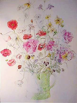Joan Berg Victor drawing with watercolor Baroque Flowers