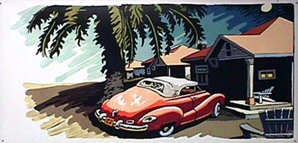 John Clem Clarke pop painting Car with Palms at Cabin