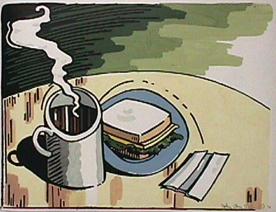 John Clem Clarke painting Coffee and Sandwich