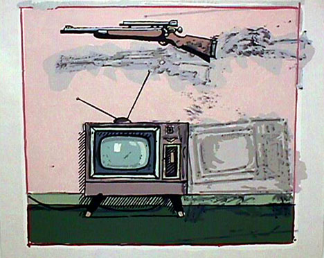 John Clem Clarke's  painting Rifle/TV Pentimenti