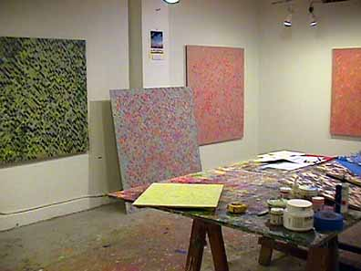 napierala studio with large panel paintings