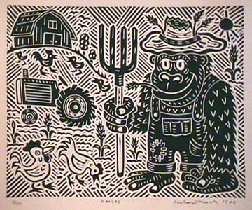 Kansas Richard Mock Linocut Print