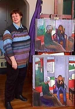 Kate Wattson figure paintings in studio