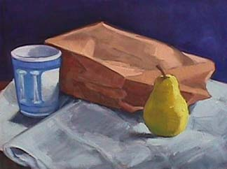 Kate Wattson still life painting Brown Bag