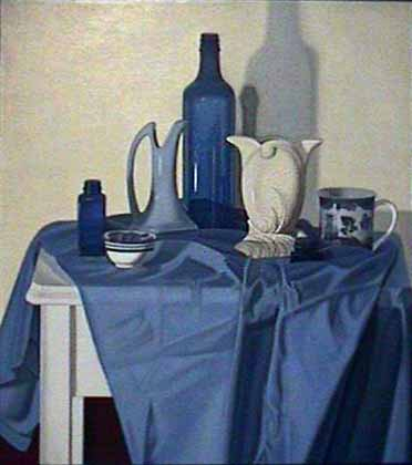 Laura Shechter painting Composition in Blue & White