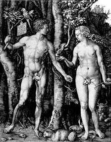 Albrecht Durer engraving Adam and Eve