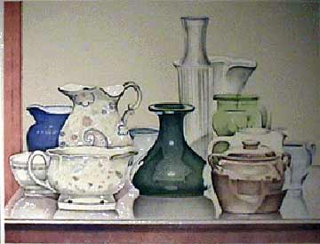 Laura Shechter lithograph Porcelain & Glass
