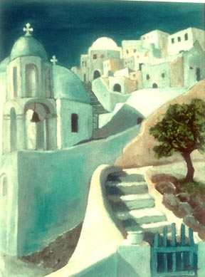 Margaret Speer painting Greek Island