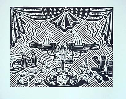 Richard Mock Linocut print Blowback Strikes