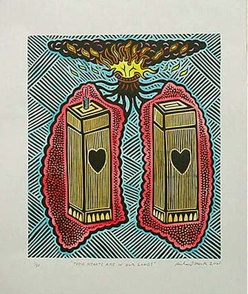 Richard Mock Linocut print Their Hearts in Our Lungs