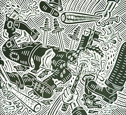 Richard Mock Linocut print Homeless under Attack