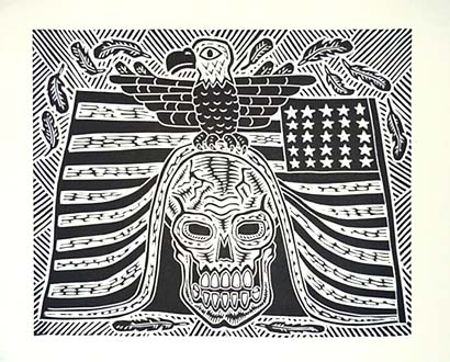Richard Mock Linocut Jingoism Kills