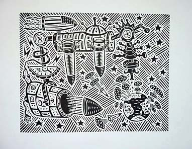 Richard Mock Linocut Missiles in Space