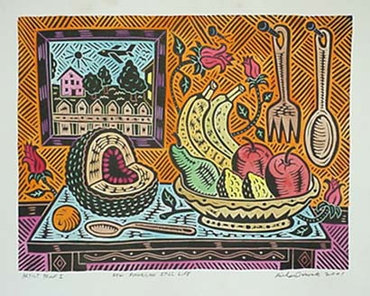 Richard Mock Linocut print New American Still life