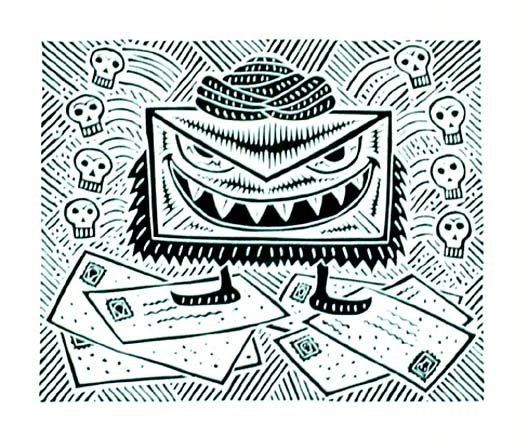 Richard Mock Linocut print Poison Pen Pal Paranoia