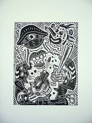 Richard Mock Linocut Print Punch and Judy