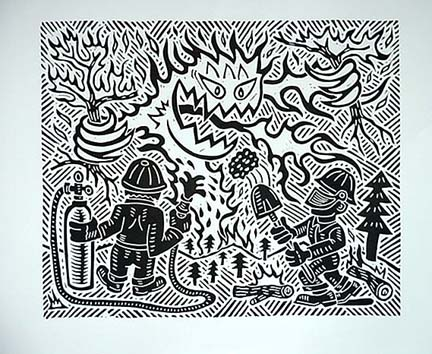 Richard Mock Linocut print Wildfires