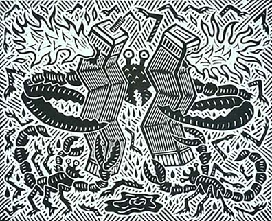 Richard Mock Linocut print World Trade Center Attack