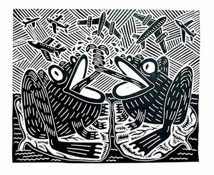 Richard Mock Linocut print FBI and CIA Frog Fight