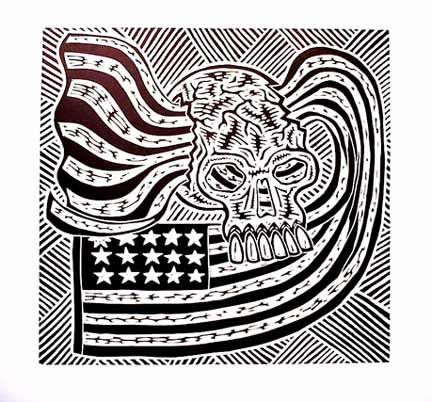 Richard Mock linocut print Forboding