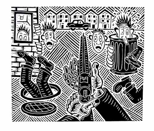 Richard Mock sniper linocut print Fair Game