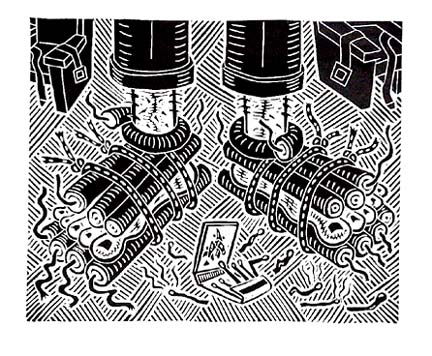 Richard Mock Linocut print Yikies
