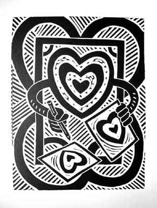 Richard Mock linocut Valentine 503826