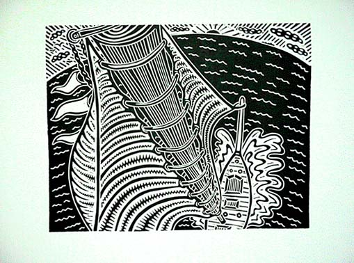 Richard Mock Linocut Print Sea Cruise