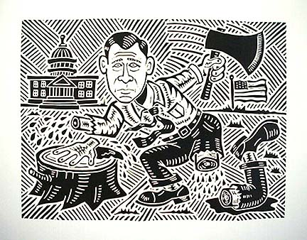 TAX CUTS  Richard Mock Linocut Print Tax Cuts