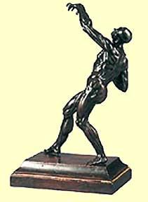 Tetrode bronze figure flayed man