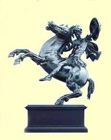 Tetrode equestrian bronze